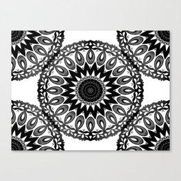 Black and wihte mandala pattern by Saribelle Canvas Print