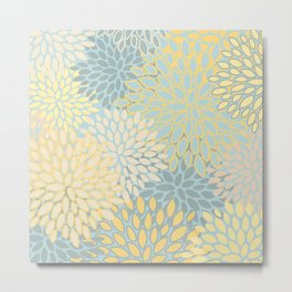 Floral Prints, Soft Yellow and Teal, Modern Print Art Metal Print