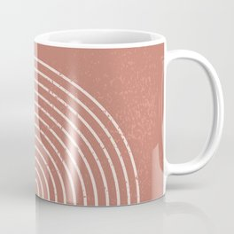 Abstract Geometric Nesting Lines Rainbow Boho Mid century Modern Minimalist Organic Shape Pastel Earth Tones Peach Pink Colors Coffee Mug