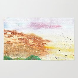 Let's Fly Away Watercolor Painting Rug