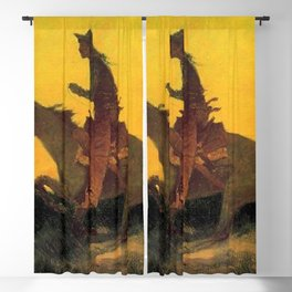 """Frederic Remington Western Art """"Against the Sunset"""" Blackout Curtain"""