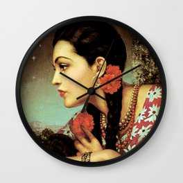 Mexican Calendar Girl in Profile by Jesus Helguera Wall Clock