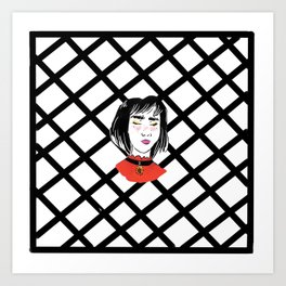 Girl in the red Shirt Art Print