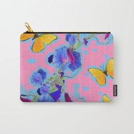 Pink Golden Butterflies Blue Morning Glory Pattern Art Carry-All Pouch