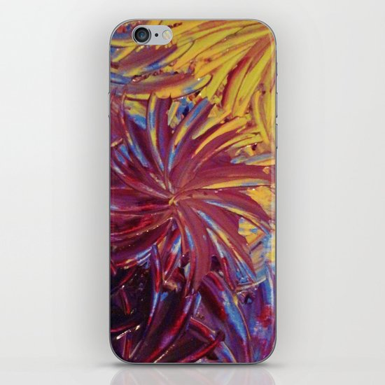 NIGHT FLOWERS 2 - Lovely Relaxing Modern Floral Abstract Acrylic Mauve Purple Plum Eggplant Painting iPhone & iPod Skin