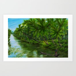 Backwaters India Art Print