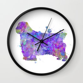 Clumber Spaniel Watercolor Painting Wall Clock