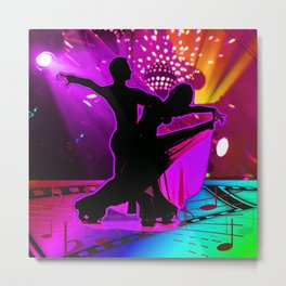 Ballroom Dancers With Stage Lights And Music Symbols Neon Colors Metal Print