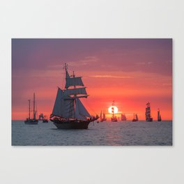 Windjammer with sunset Canvas Print
