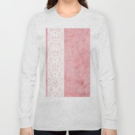 Delicate White Stripe Butterfly Pattern Pink Texure Design Long Sleeve T-shirt