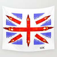 union jack Wall Tapestries featuring Union Jack of Ben by ADR5