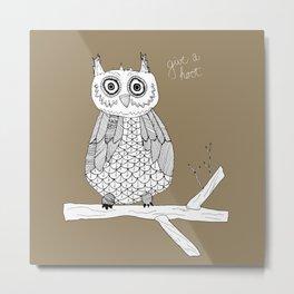 brown owl square Metal Print