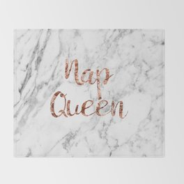 Nap queen - rose gold on marble Throw Blanket