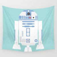 r2d2 Wall Tapestries featuring #92 R2D2 by MNML Thing
