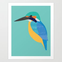Kingfisher On Blue Art Print