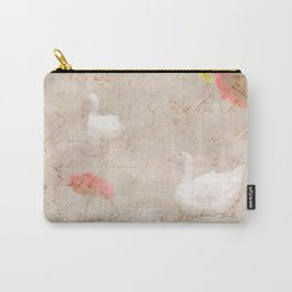 Geese, clouds, roses, vintage calligraphy Carry-All Pouch