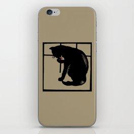 Black cat modern woodcut style iPhone Skin