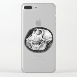 Baboon Skull Drawing Clear iPhone Case