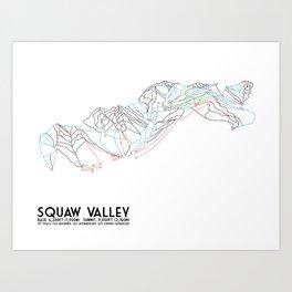 Squaw Valley, CA - Minimalist Trail Map Art Print