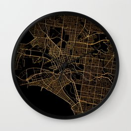 Black and gold Melbourne map Wall Clock