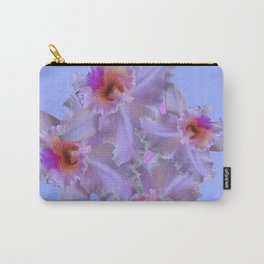 purple tinged white orchids blue art Carry-All Pouch