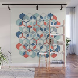 Soft Red, White & Blue Hexagon Pattern Play Wall Mural