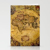 vintage map Stationery Cards featuring VintaGe Map by ''CVogiatzi.