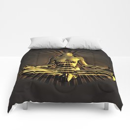2329-JPC Abstract Striped Nude Powerful Woman Creator Goddess Radiating Golden Feminine Comforters