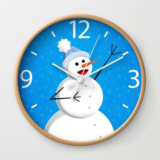 Blue Happy Singing Snowman Wall Clock