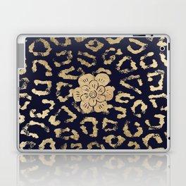 Modern navy blue faux gold hipster cheetah animal print Laptop & iPad Skin