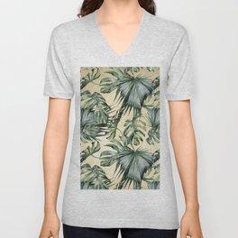 Palm Leaves Classic Linen Unisex V-Neck