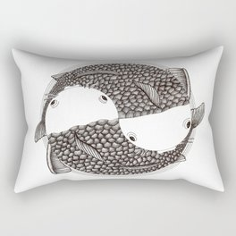 Pisces - Fish Koi - Japanese Tattoo Style (black and white) Rectangular Pillow