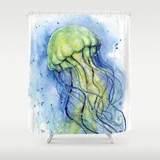 Jellyfish Watercolor Beautiful Sea Creatures Shower Curtain