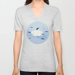 Whales around the cloud Unisex V-Neck