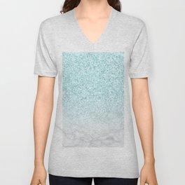 Turquoise Glitter and Marble Unisex V-Neck