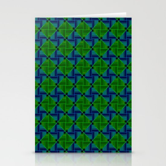 Green Parquet Stationery Cards