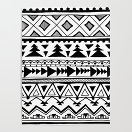 Tribal bohemian Mexican Aztec Style Pattern Doodle Poster