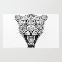 leopard Area & Throw Rugs featuring Leopard by Libby Watkins Illustration