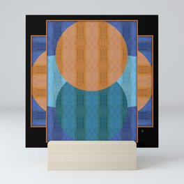 Orange Blues Geometric Shapes Mini Art Print