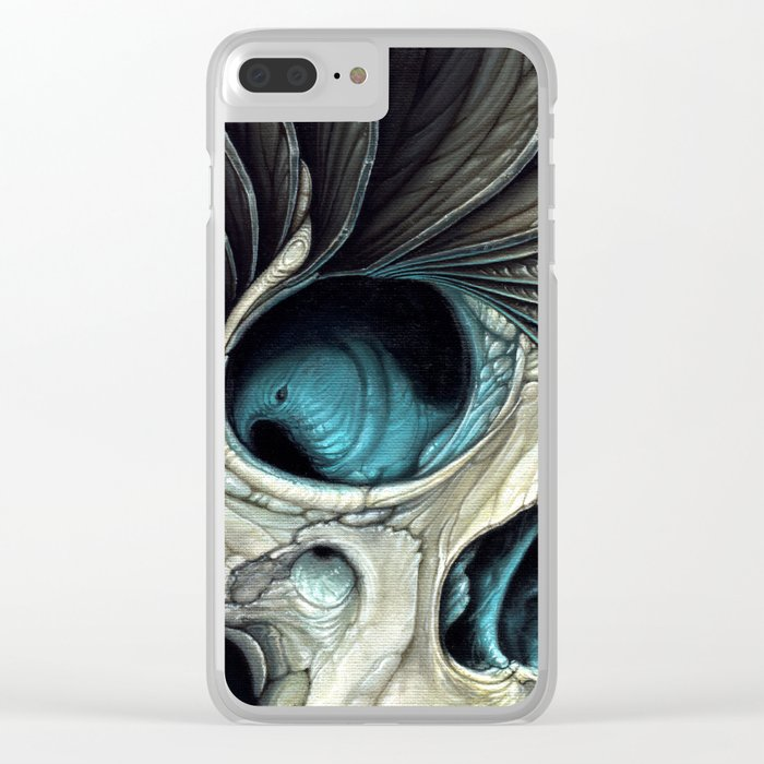 Abstract Skull & Feather Painting - Skull Art Clear iPhone Case