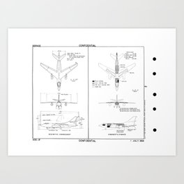 Douglas A-3D-1P Skywarrior Schematic Art Print