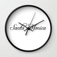santa monica Wall Clocks featuring Santa Monica by Blocks & Boroughs