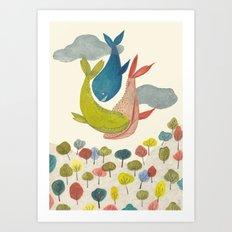 It' s raining Whales  Art Print