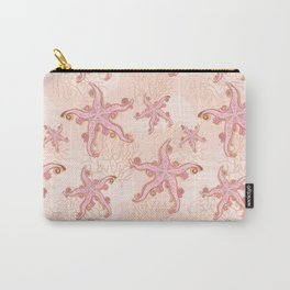 Starfish and Coral Pink Pastel Pattern Carry-All Pouch
