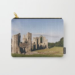 Moon over old Priory ruins at sunrise. Norfolk, UK. Carry-All Pouch