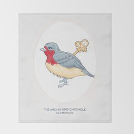 Haruki Murakami's The Wind-Up Bird Chronicle // Illustration of a Bird with a Wind-up Key in Pencil Throw Blanket