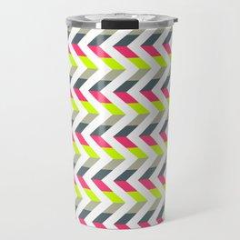 Neon Strawberry - Chevron Geometric Pattern Travel Mug