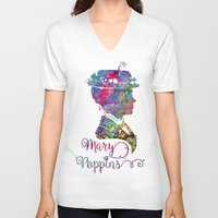 mary poppins V-neck T-shirts featuring Mary Poppins Portrait Silhouette by Bitter Moon