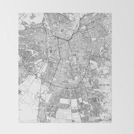 Santiago White Map Throw Blanket