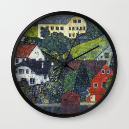 Gustav Klimt - Houses At Unterach On The Attersee Wall Clock